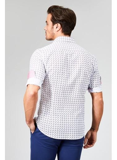 Avva Desenli Slim Fit Uzun Kollu Gömlek Beyaz